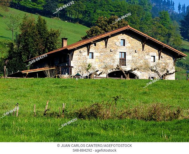 Typical Basque house in Mañaria. Biscay. Basque Country. Spain