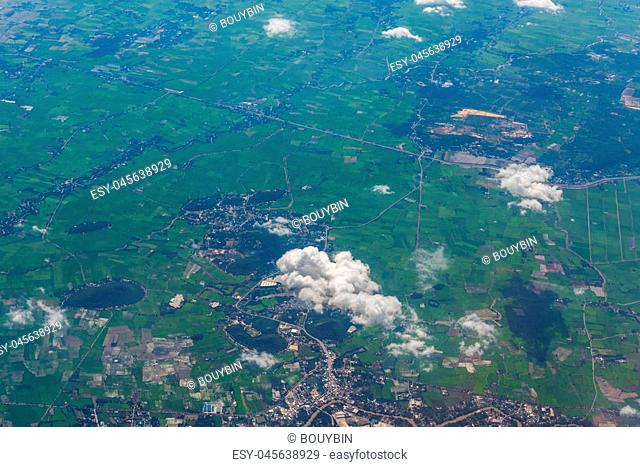 Aerial view of landscape through airplane window, landscape of the mountains, top view of mountains