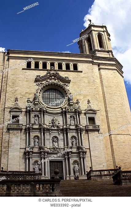 Façade of the Cathedral, Girona. Catalonia, Spain
