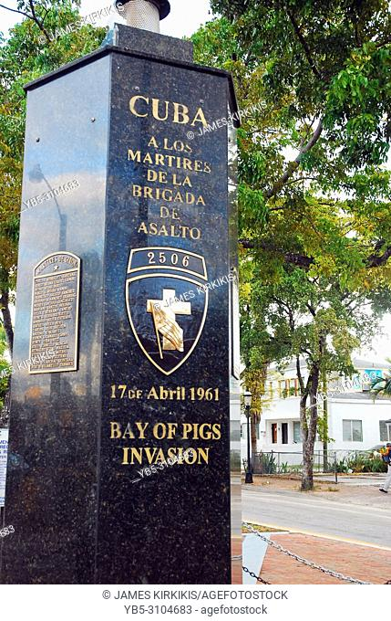 A monument in the Calle Ocho neighborhood of Miami honors those killed in the Bay of Pigs Invasion in 1961