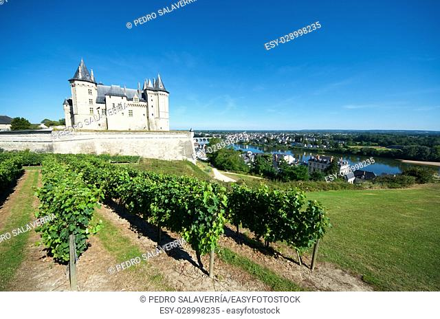 Saumur castle and Loire River, Loire Valley, France. Saumur Castle was built in the tenth century and rebuilt in the late twelfth century