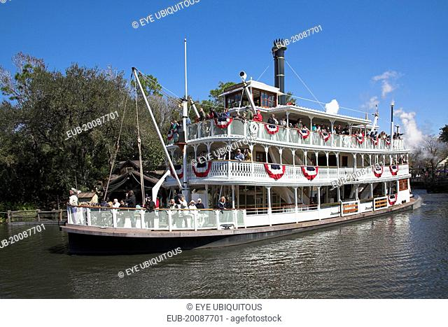 Walt Disney World Resort. Liberty Belle Paddle Steamer, Liberty Square Riverboat on a lake in the Magic Kingdom