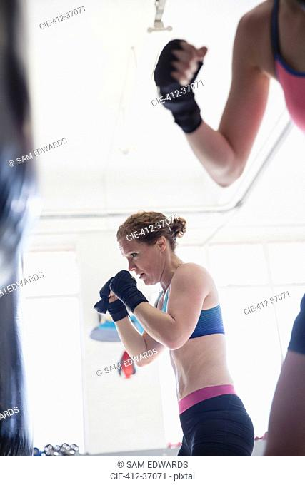 Determined female boxer boxing at punching bag in gym