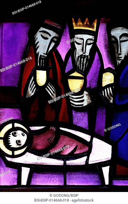 Taize Community. Church of the Reconciliation. Stained glass window. Adoration of the magi