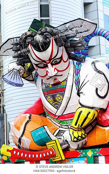 Japan, Hoshu, Tokyo, Asakusa, Nebuta Festival, Float with Giant Kabuki Actor