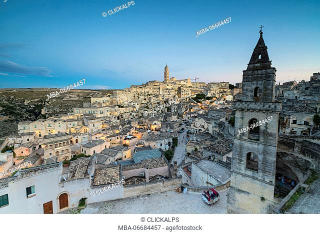 View of the ancient town and historical center called Sassi perched on rocks on top of hill Matera Basilicata Italy Europe