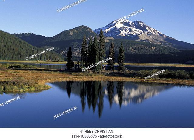 Bend, Oregon, South Sister, landscape, lake, trees, mountains, Sparks Lake, USA, America, United States