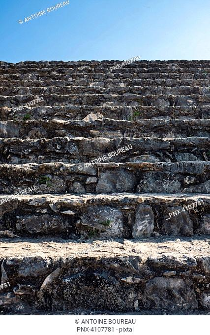 Stairs of the oval palace of Ek Balam located 30 kilometers from Valladolid, Yucatan, Mexico