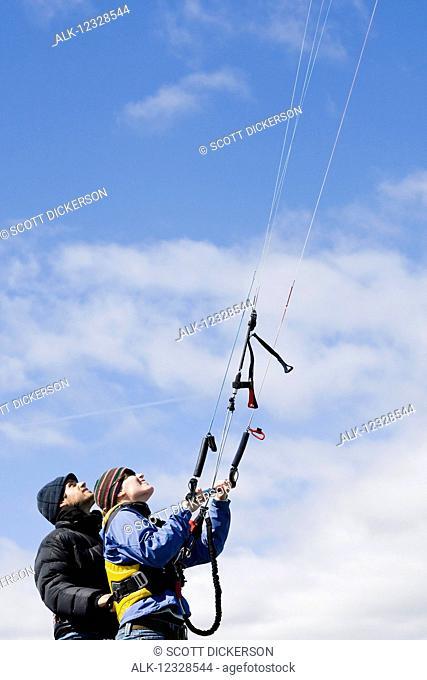 Kitesurfing instruction class, Homer, South-central Alaska; Alaska, United States of America