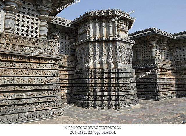 Ornate wall panel relief, Hoysaleshwara temple, Halebidu, Karnataka, india. View from South East