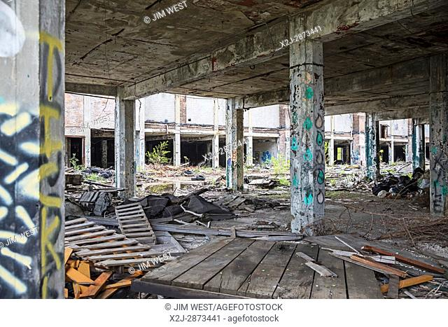 Detroit, Michigan USA - 16 May 2017 - A section of the 400-acre Packard Plant, photographed as groundbreaking ceremonies were held for the facility's...