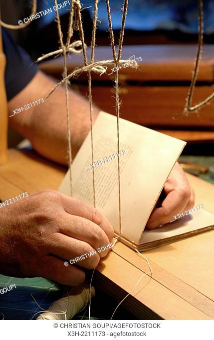 In-Folio, workshop of Michel Clement, fine bookbinder at La Charite-sur-Loire, Nievre department, Burgundy region, France, Europe