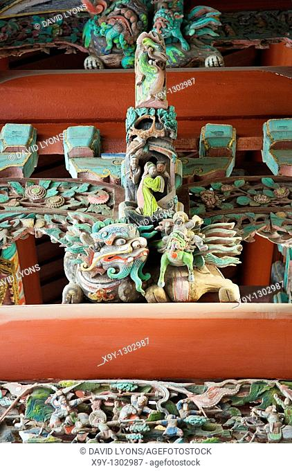 Yantai China  Temple of the Heavenly Queen also known as Fujian Guildhall  Carved painted roof beams in the museum temple gate