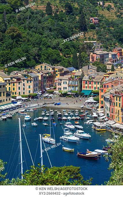 Portofino, Genoa Province, Liguria, Italian Riviera, Italy. Classic overall view of the village and harbour