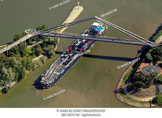 Aerial view of ship under bridge with Parliament, Rhine riverbank, Düsseldorf, Rhineland, North Rhine-Westphalia, Germany