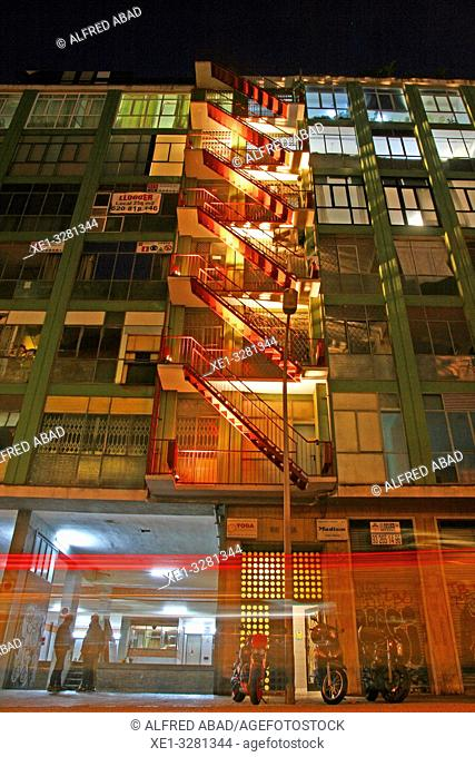 Illuminated emergency stairs, Llum Bcn 19 festival, Poblenou district, Barcelona, Catalonia, Spain