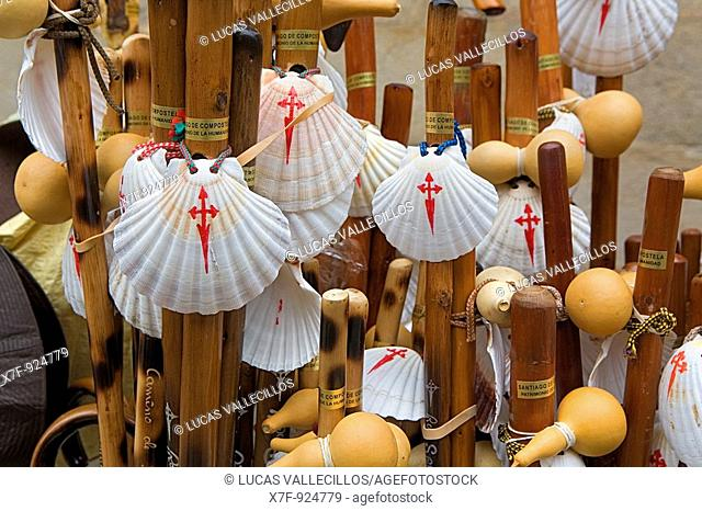 the typical stick of the pilgrim with the pumpkin and the 'coucha' of 'camino de santiago', Santiago de Compostela Coruña province Spain  Camino de Santiago