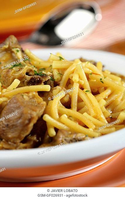 Noodles and pork casserole