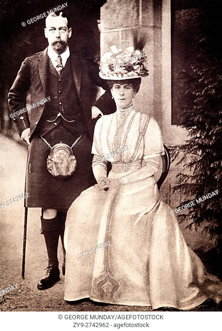 The Prince and Princess of Wales in 1909, shortly before his coronation as King George V