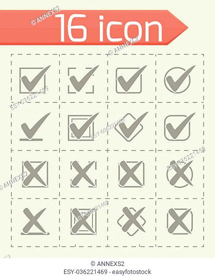 Vector Check marks icon set on grey background