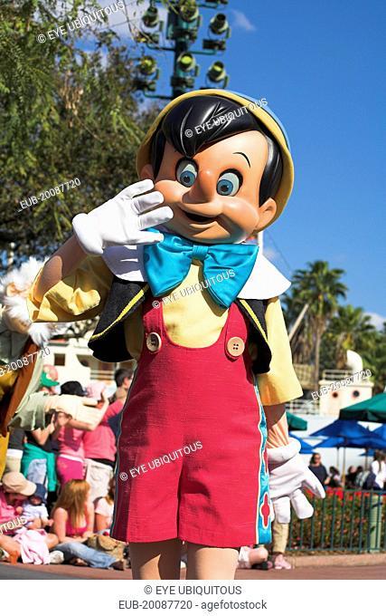 Walt Disney World Resort. Disney MGM Studios. Pinocchio character during the Stars and Motor Cars Parade