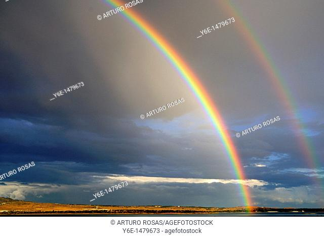 Double rainbow in Santillana Reservoir  Manzanares el Real Madrid, Spain