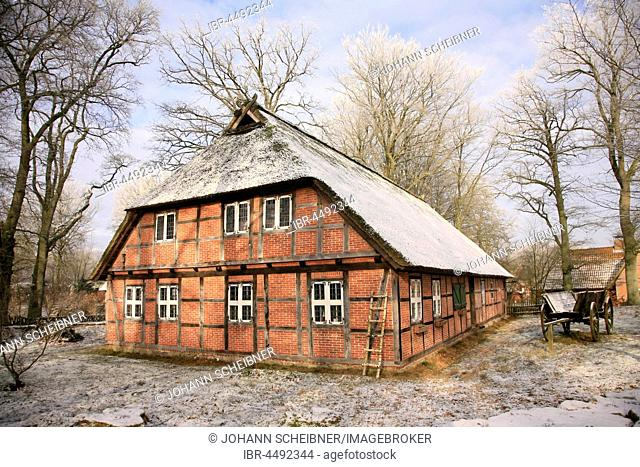 Museum of local history in winter, Wilsede, Lueneburg Heath, Lower Saxony, Germany