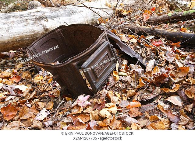 Old stove in the Twin Brook drainage of Albany, New Hampshire USA