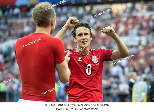 Thomas DELANEY (right, DEN) and Christian ERIKSEN (DEN) are happy about the last sixteen, jubilation, cheering, cheering, joy, cheers, celebrate, half figure
