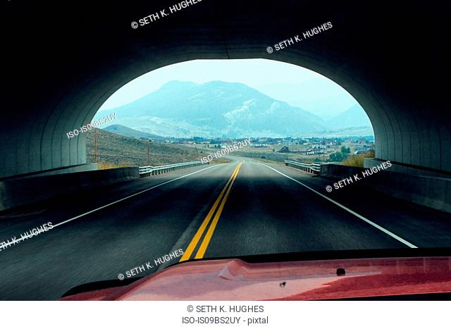 Vehicle driving through tunnel, Silverthorne, Colorado, USA