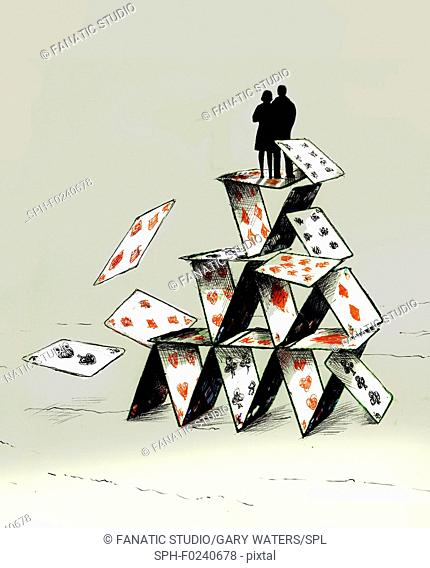 Conceptual illustration of a couple standing on a tumbling house of cards depicting instability
