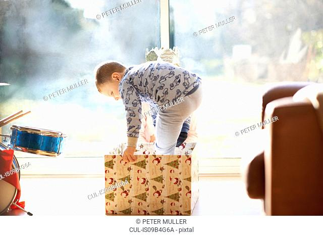 Boy and sister stepping into cardboard box at christmas