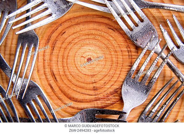 Series of steel forks presented above-border pine
