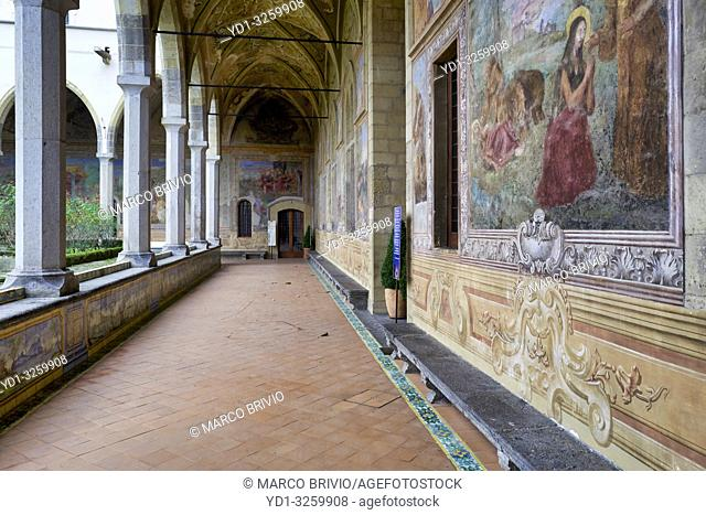Naples Campania Italy. Santa Chiara Basilica Church. The cloister of the Clarisses, transformed in 1742 by Domenico Antonio Vaccaro with the unique addition...