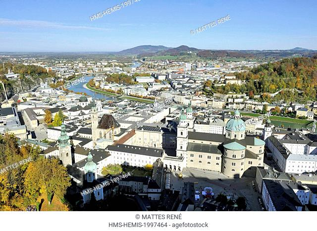 Austria, Salzburg, historic centre listed as World Heritage by UNESCO, view over the city from Hohensalzburg Castle with the cathedral (Dom) St Rupert