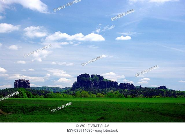 View of the Schrammsteine, Bad Schandau, Saxon Switzerland, Saxony, Germany