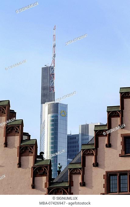 Europe, Germany, Hesse, Frankfurt, Römer and the top of the Commerzbank tower
