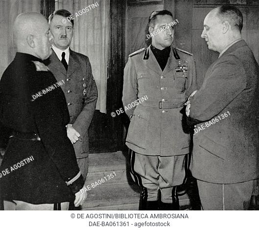 Benito Mussolini, Adolf Hitler, Joachim von Ribbentrop and Galeazzo Ciano during a meeting at Palazzo Vecchio, Florence, October 28, 1940, Italy, World War II