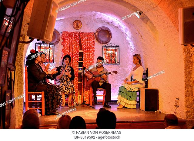 Flamenco performance on the stage of a former cave home, Los Tarantos flamenco club