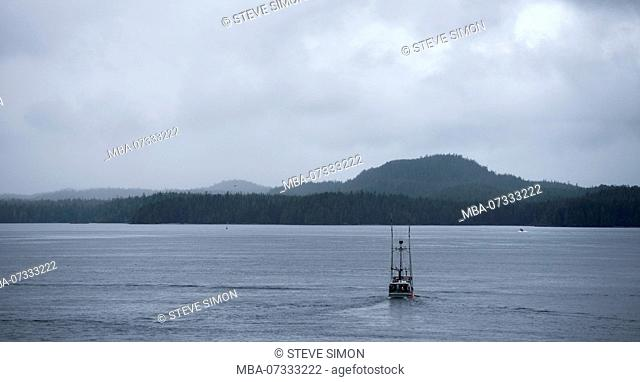 Fishing boat on the sea, Vancouver Island, Canada