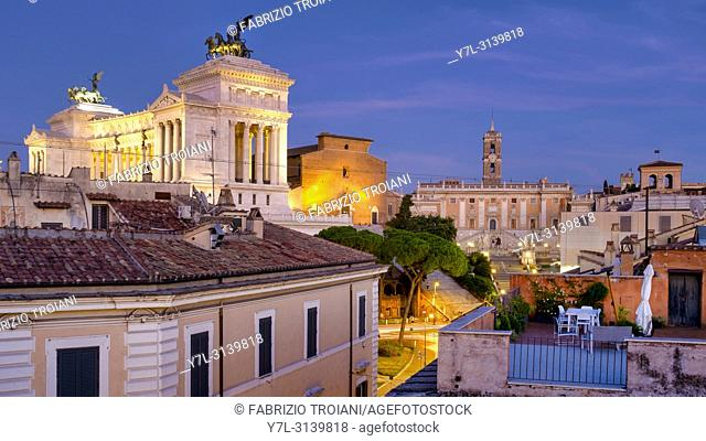 View of the monuments on Capitoline Hill (Altare della Patria on the left, Santa Maria in Ara Coeli in the middle, and Piazza del Campidoglio on the right)