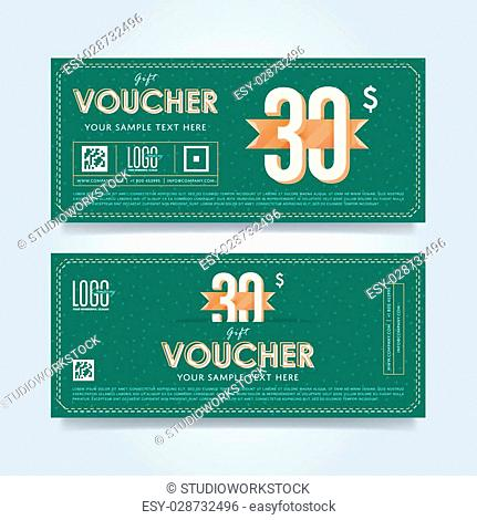 Gift discount voucher template, vector layout. Special offer coupon. Business voucher layout