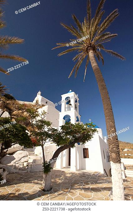 Blue domed church of Panagia Gremiotissa in town center Chora, Ios, Cyclades Islands, Greek Islands, Greece, Europe