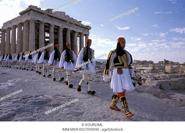 Greek soldiers evzones, after the flag rise, Sunday morning in Acropolis ancient temple  Athens, Attica, Greece