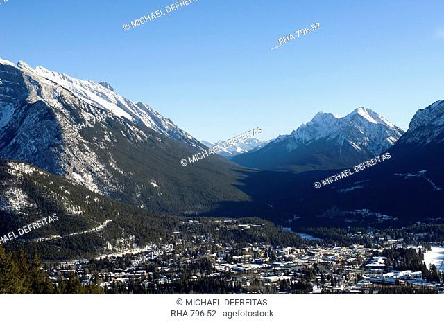 Banff surrounded by Canadian Rocky Mountains, Alberta, Canada, North America
