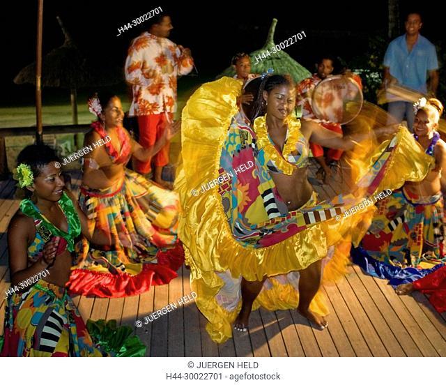 Traditional Sega dancer performing in Hotel Veranda, Troux aux Biches, Mauritius, Africa