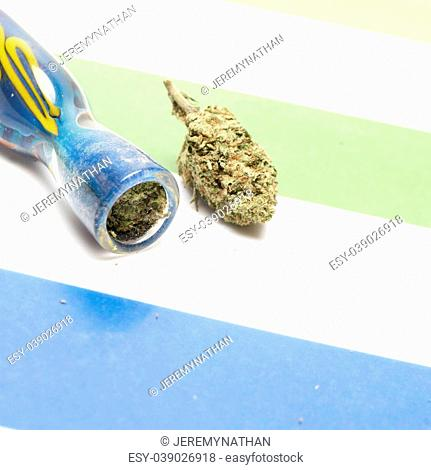 Marijuana and Cannabis on a Colorful Background