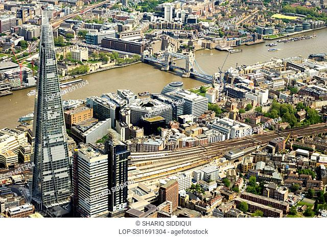 England, London, River Thames. Aerial view of some of the major London landmarks