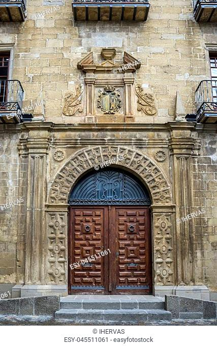 Facade of the Town Hall of Sos del Rey Catolico, Zaragoza, Aragon, eastern Spain. It was built at the end of the XVI century in Renaissance style