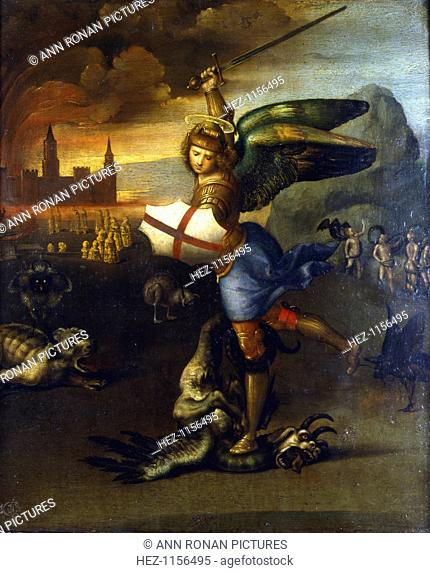 'St Michael the Archangel', c1503-1504. St Michael depicted as a knight in armour with shield and sword attacking the dragon as described in Revelations